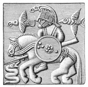 A plate from a Vendel era helmet possibly depicting Odinn; from Oscar Montelius, Om lifvet i Sverige under hednatiden (Stockholm, 1905) p. 98